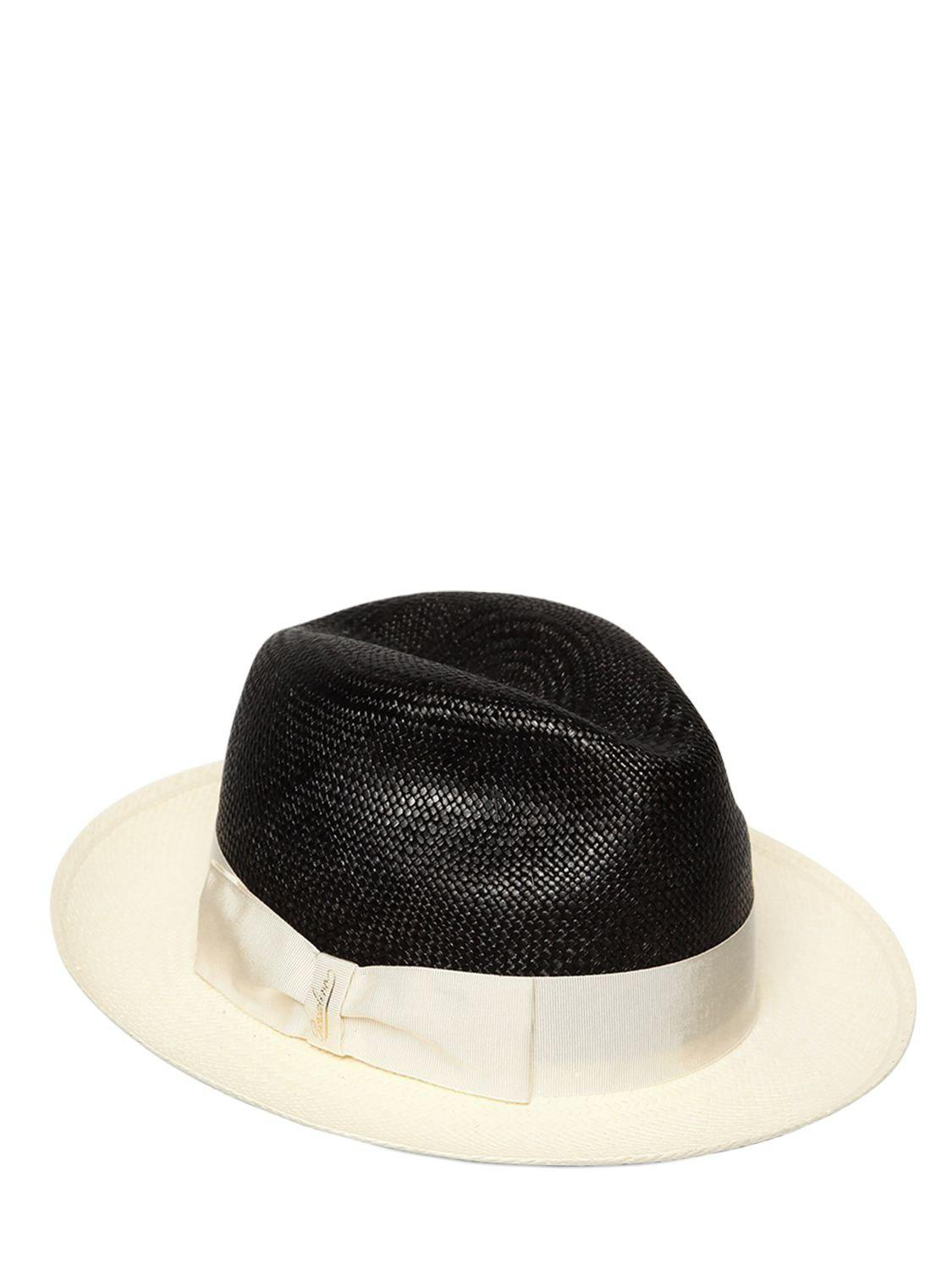 Black and beige straw hat Borsalino 9v0k3
