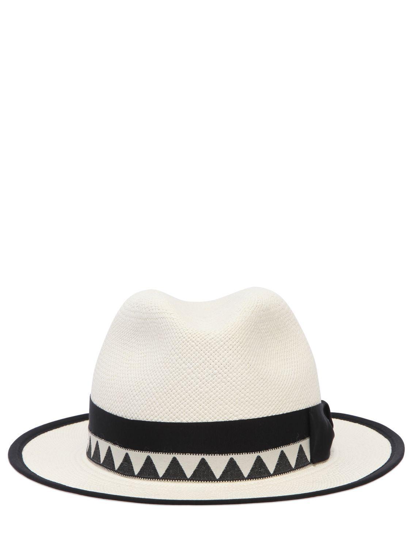Borsalino Quito Medium Brim Straw Panama Hat in White for Men - Lyst af754e347d43