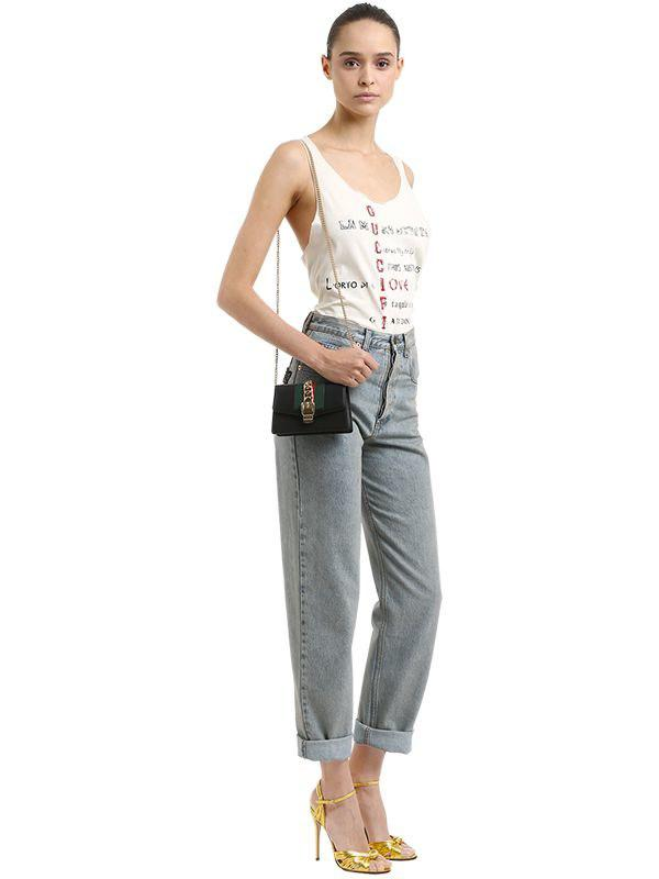 3264b4487689 Gucci - Black Sylvie Leather Super Mini Bag - Lyst. View fullscreen