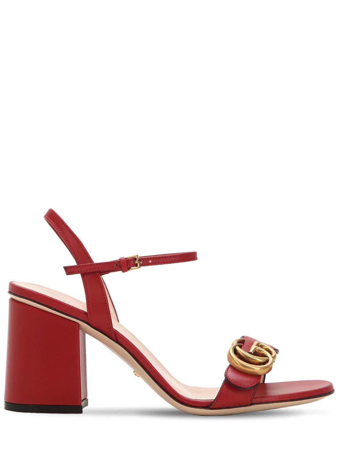 8005faa195d Gucci Red Marmont Heeled Sandals in Red - Save 17% - Lyst