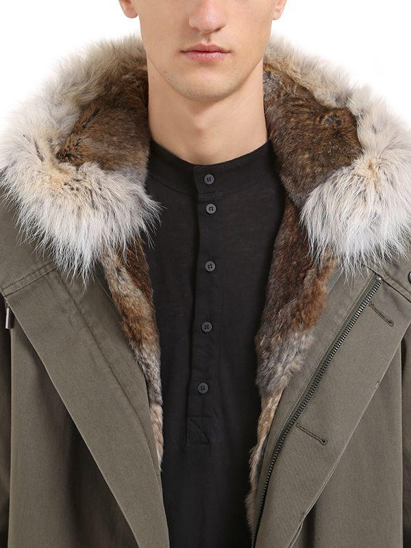 9ccf0721bb08 Lyst - Yves Salomon Cotton Canvas Parka W  Fur Trim   Lining in ...