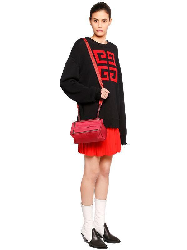 Lyst - Givenchy Mini Pandora Nylon Bag W  Logo Strap in Red 225f926a426a0
