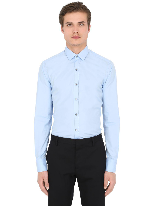 b509d882 Lanvin - Blue Slim Fit Cotton Poplin Shirt for Men - Lyst. View fullscreen