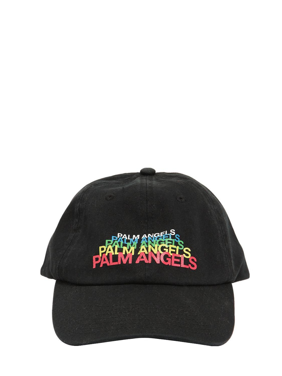 12c6ae65542 Palm Angels Embroidered Cotton Canvas Baseball Hat in Black for Men ...