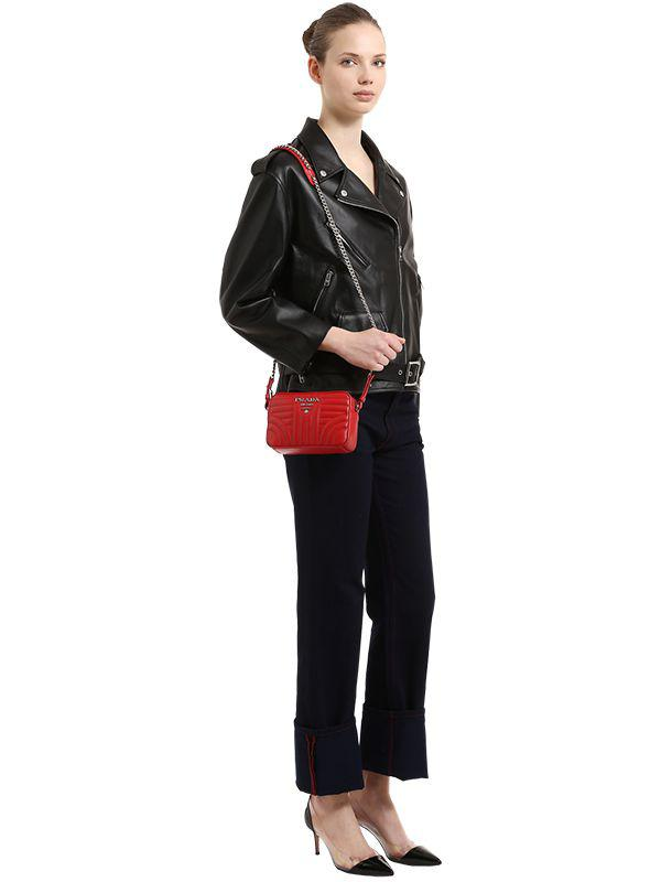 777294cc9123 Prada - Red Small Quilted Soft Leather Camera Bag - Lyst. View fullscreen