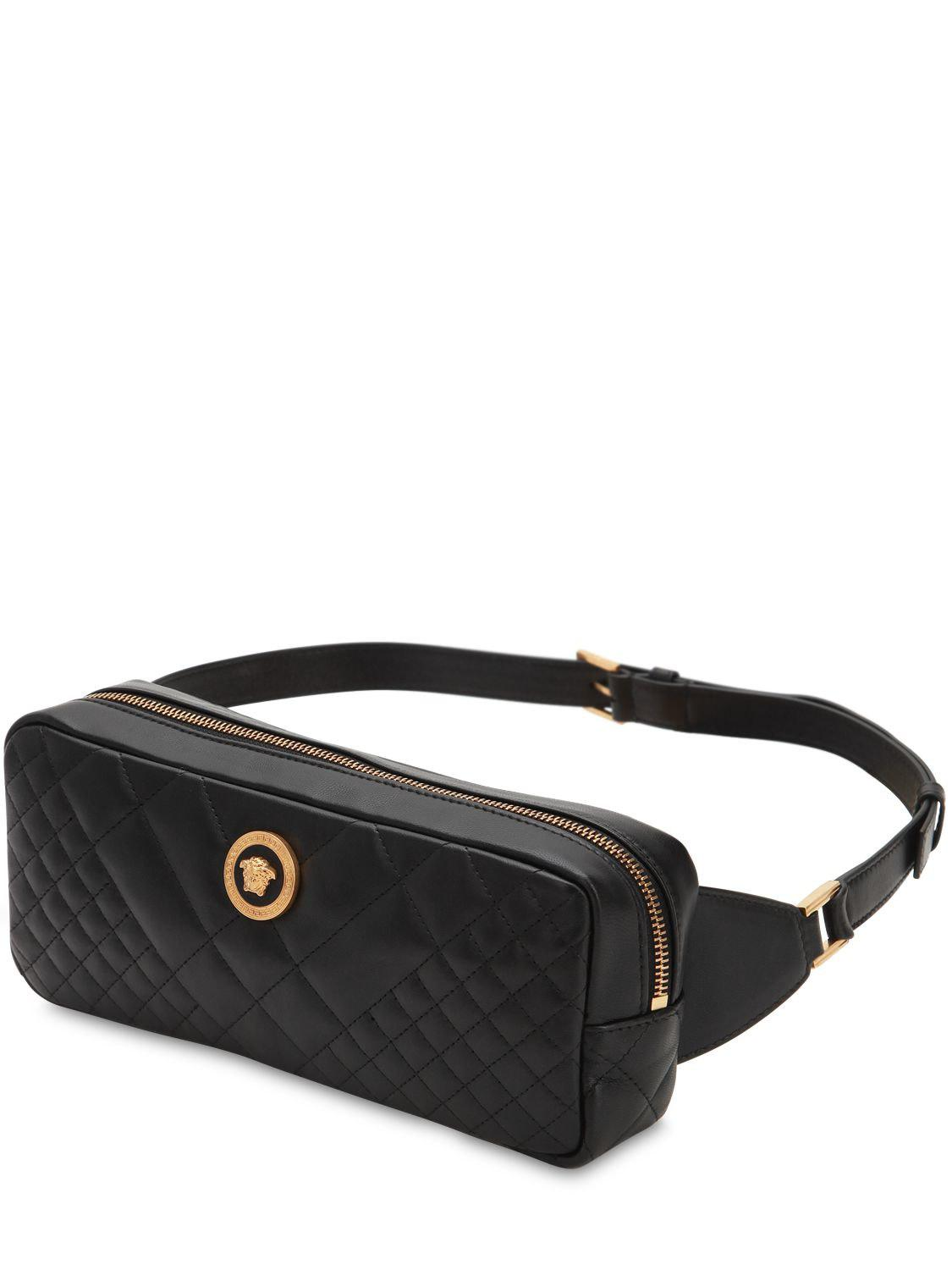 5fef2144e1 Versace Icon Quilted Leather Belt Bag in Black - Lyst