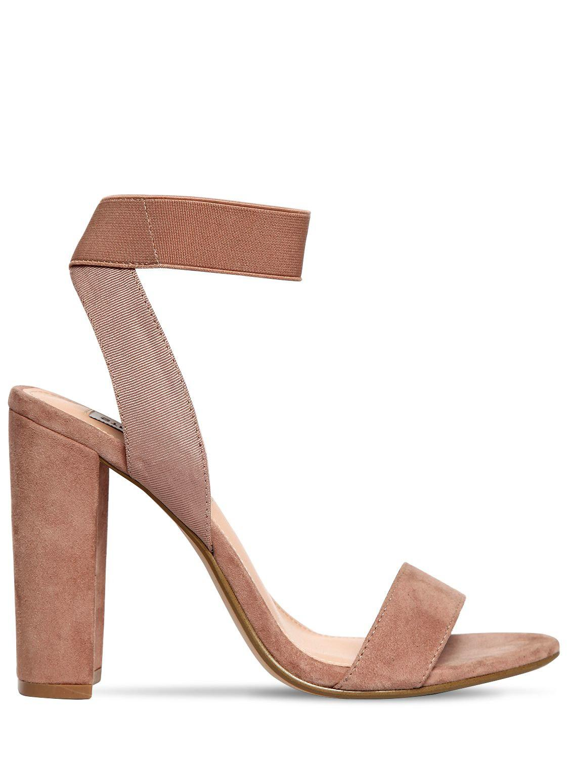 994a1b3ad26 Lyst - Steve Madden 100mm Celebrate Elastic   Suede Sandals in Natural