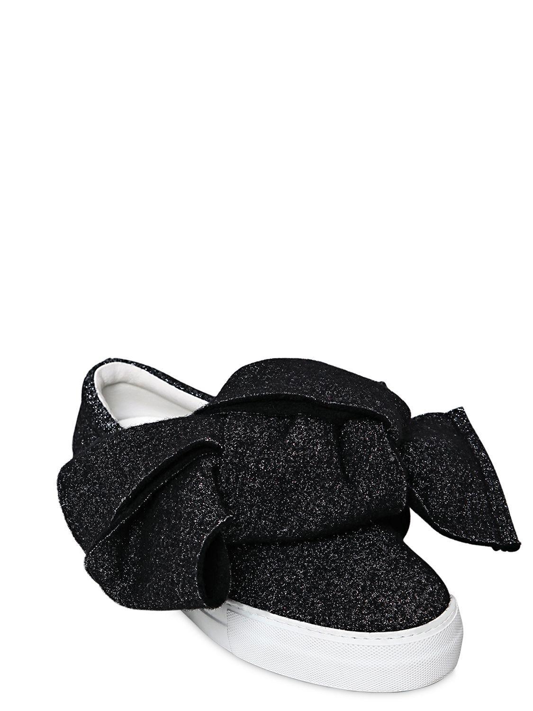 Joshua Sanders Black Felt Bow Platform Slip-On Sneakers wFZWnDrSCJ