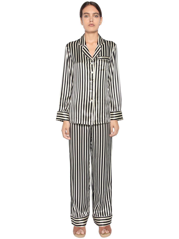 Lyst - Olivia Von Halle Striped Print Silk Satin Pajama Set in Black ec11d5426