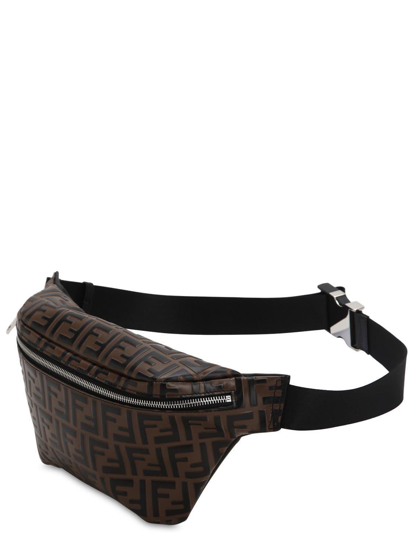 b76285a866a3 Fendi - Brown Logo Embossed Leather Belt Bag for Men - Lyst. View fullscreen
