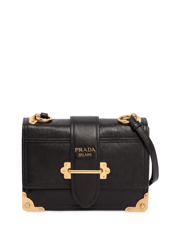 ... new style prada medium cahier leather shoulder bag in black lyst 24c81  0f104 89ac260863460
