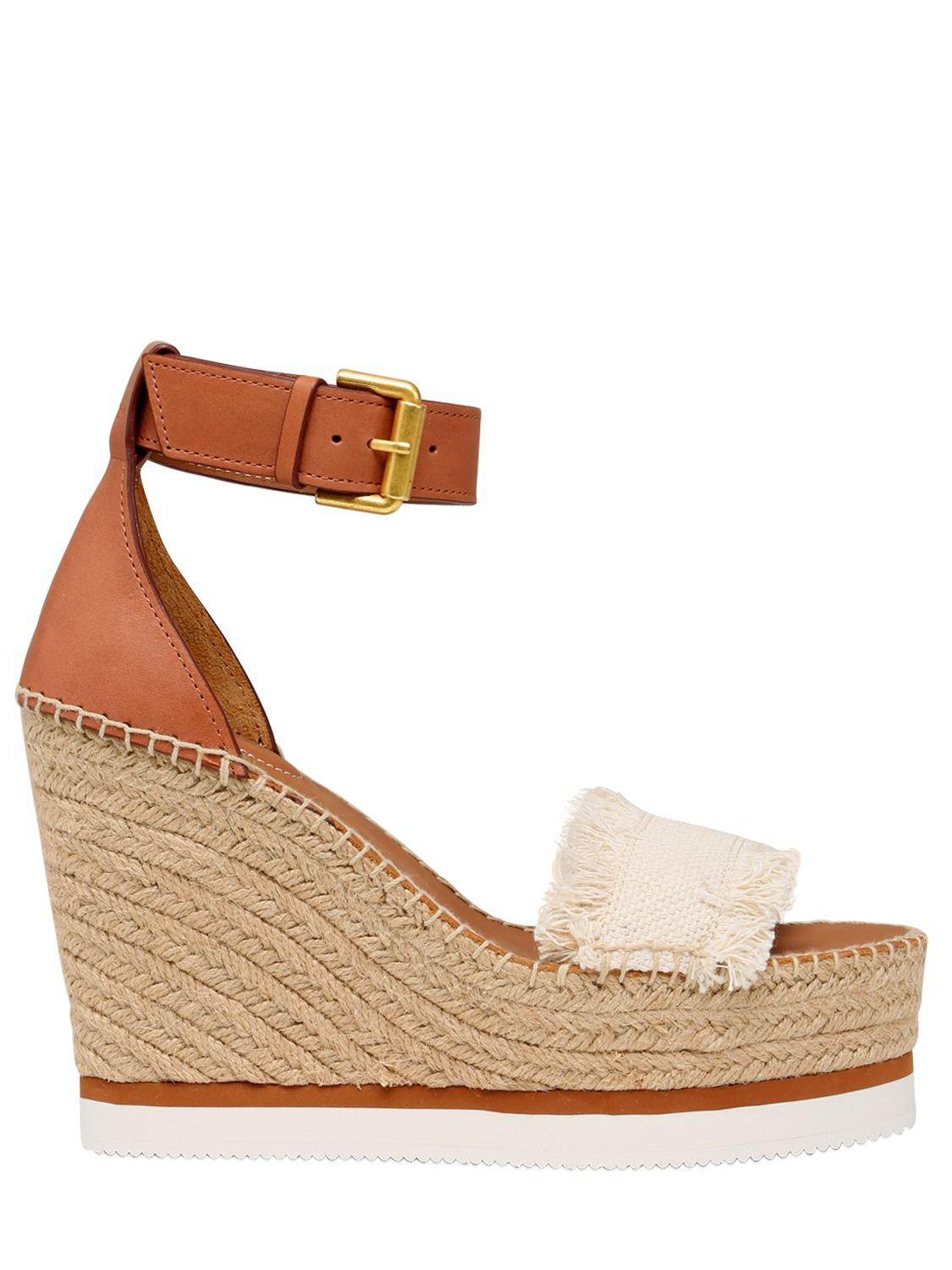 Chloé 120MM CANVAS & LEATHER WEDGE SANDALS 3R14t