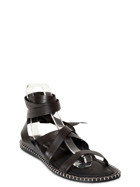 ddfae76099b64 Ann Demeulemeester Leather Strap Sandals in Black for Men - Lyst