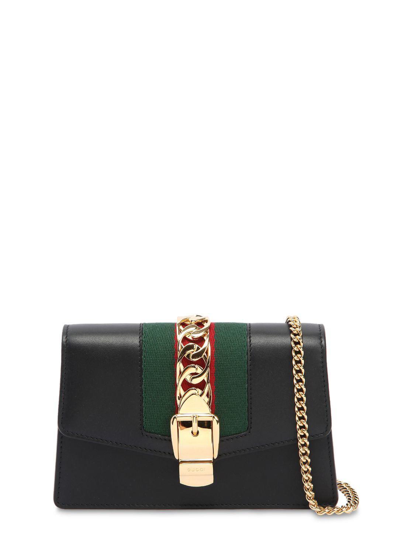 38de537e56b Lyst - Gucci Super Mini Sylvie Leather Shoulder Bag in Black - Save 9%