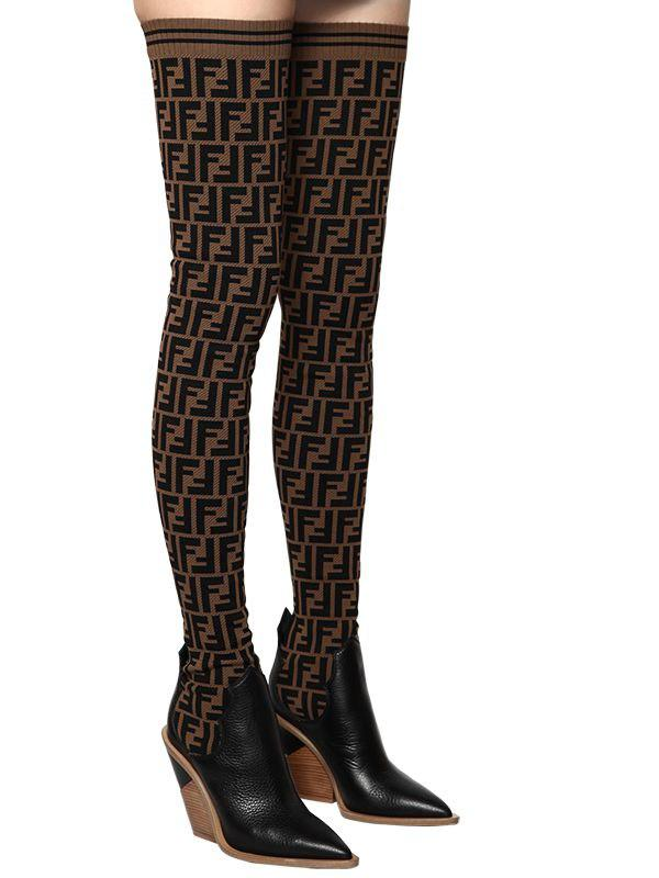 425f7c2ee5e Lyst - Fendi 100mm Ff Knit   Leather Thigh Boots in Black