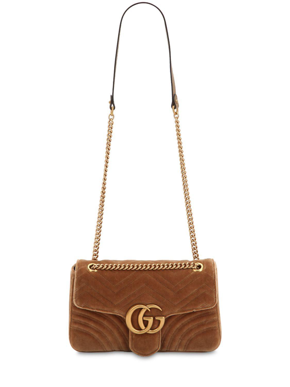 9051a8859c7 Gucci Medium Gg Marmont 2.0 Velvet Bag in Natural - Lyst