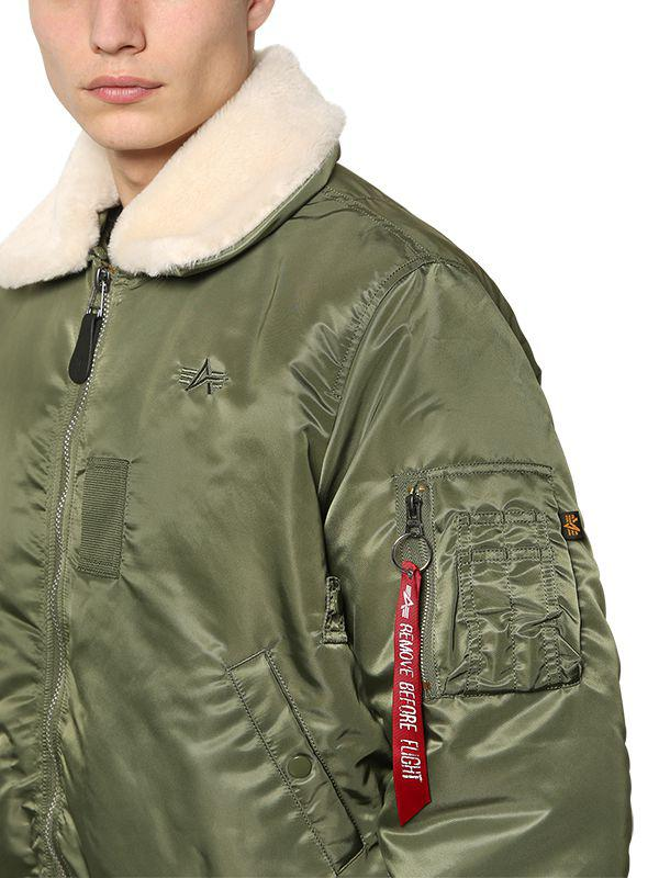 7455203a951 Lyst - Alpha Industries B-15 Oversized Nylon Bomber Jacket in Green ...