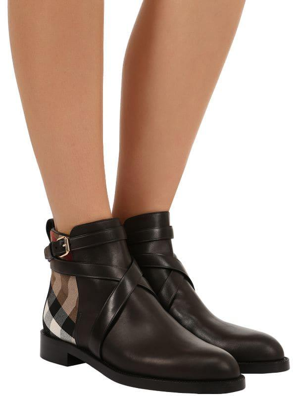547c87b8ea8 Lyst - Burberry 20mm Pryle Leather   Check Boots in Black - Save 8%