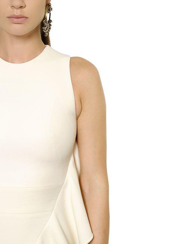 4dd97c65661aa Lyst - Alexander McQueen Ruffled Wool & Silk Scuba Dress in White