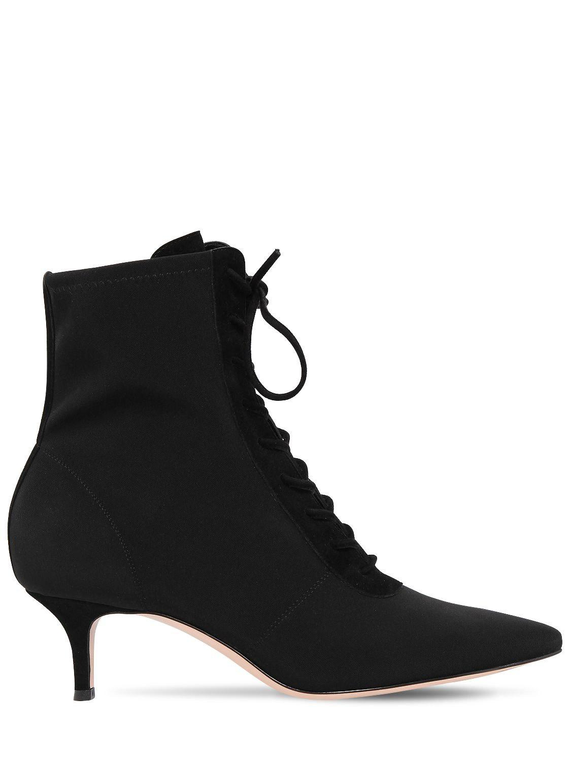 8a27bc2cf5c8 Gianvito Rossi 55mm Stretch Jersey Lace-up Ankle Boots in Black - Lyst