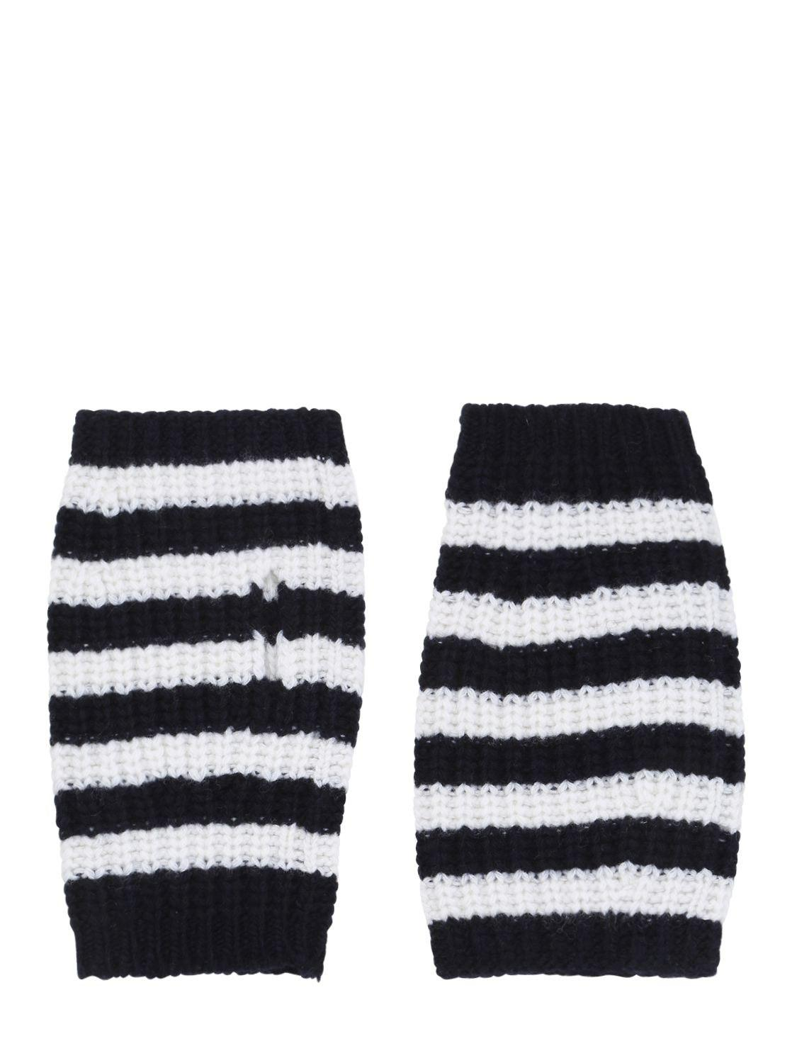 Lyst - Gucci Stripe Wool Cable Knit Fingerless Gloves in White for Men