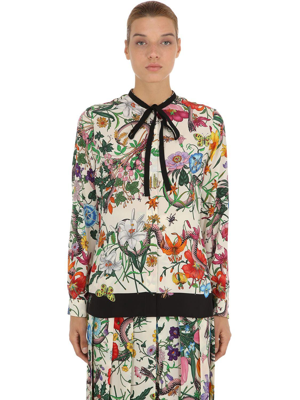 6c20e6e75d9b9e Gucci Floral Printed Silk Crepe De Chine Shirt - Save 19% - Lyst