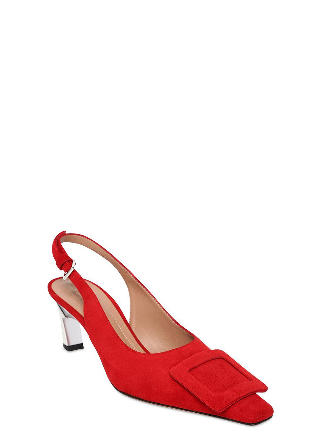 efdc0aee43ac Lyst - Marni Red Buckle 60 Suede Leather Slingback Pumps in Red