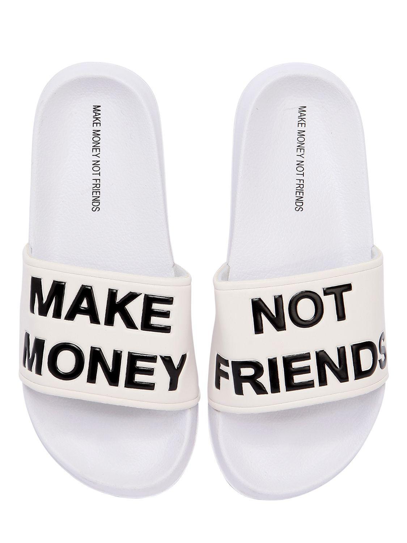 lyst make money not friends logo slide sandals in white for men
