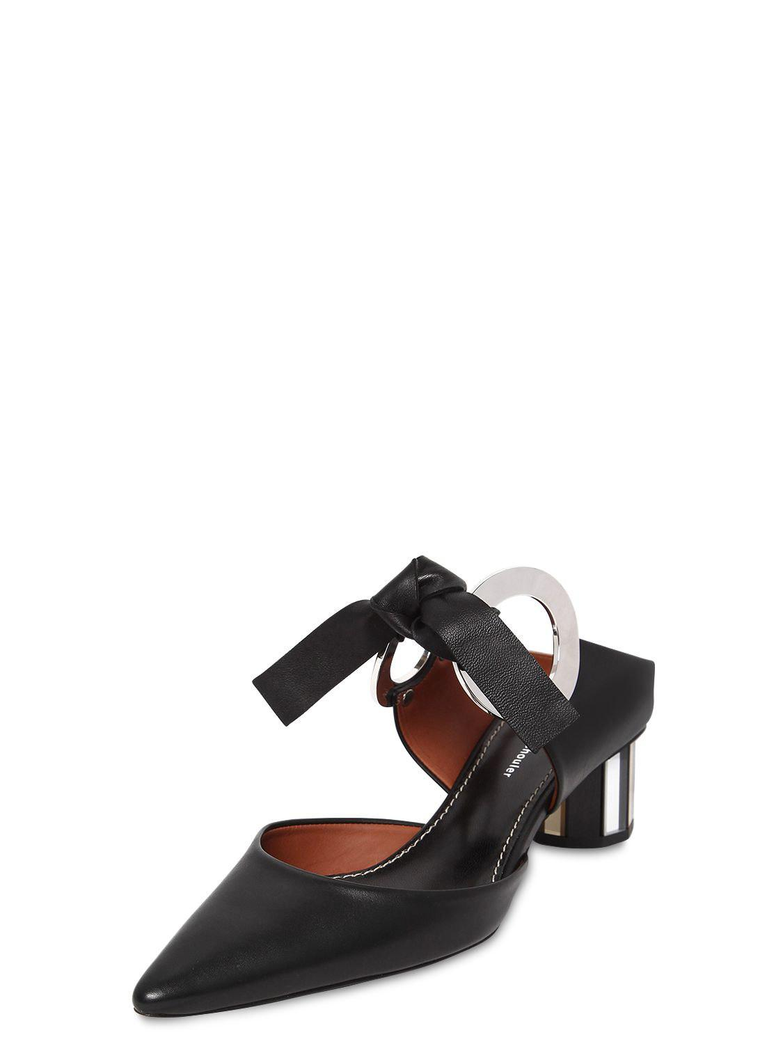 e5ebe42607a Proenza Schouler 40mm Leather Bow Mules in Black - Lyst