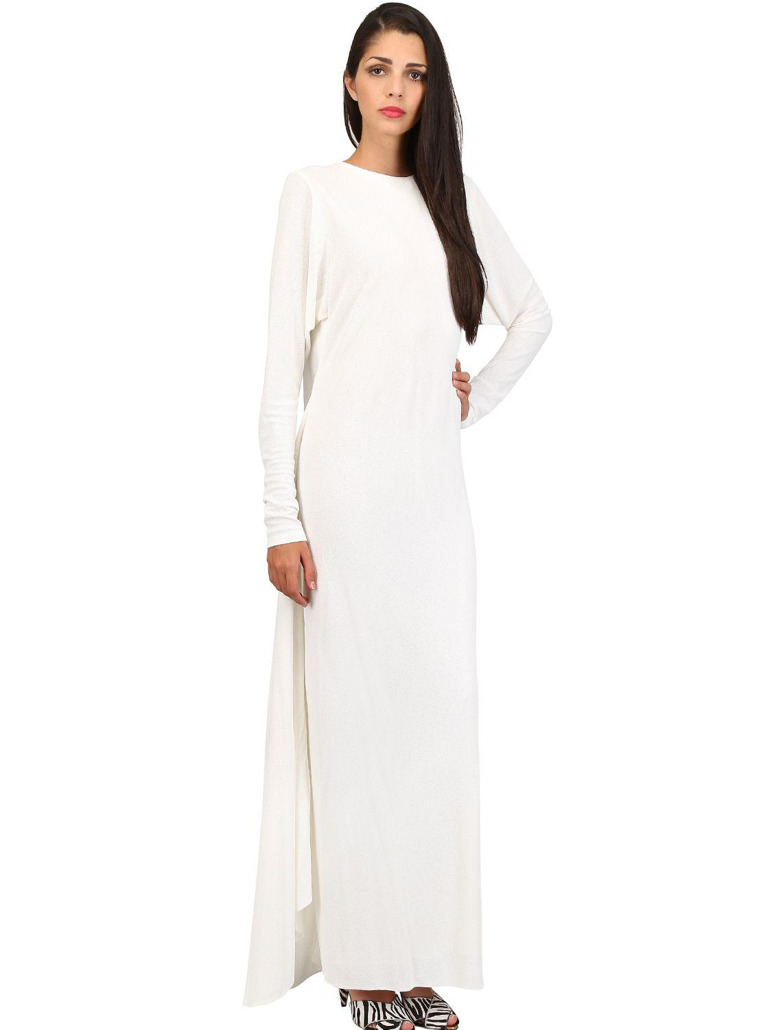 27e2057f96f Tom Ford Jersey Sablé Long Dress With Cape in White - Lyst