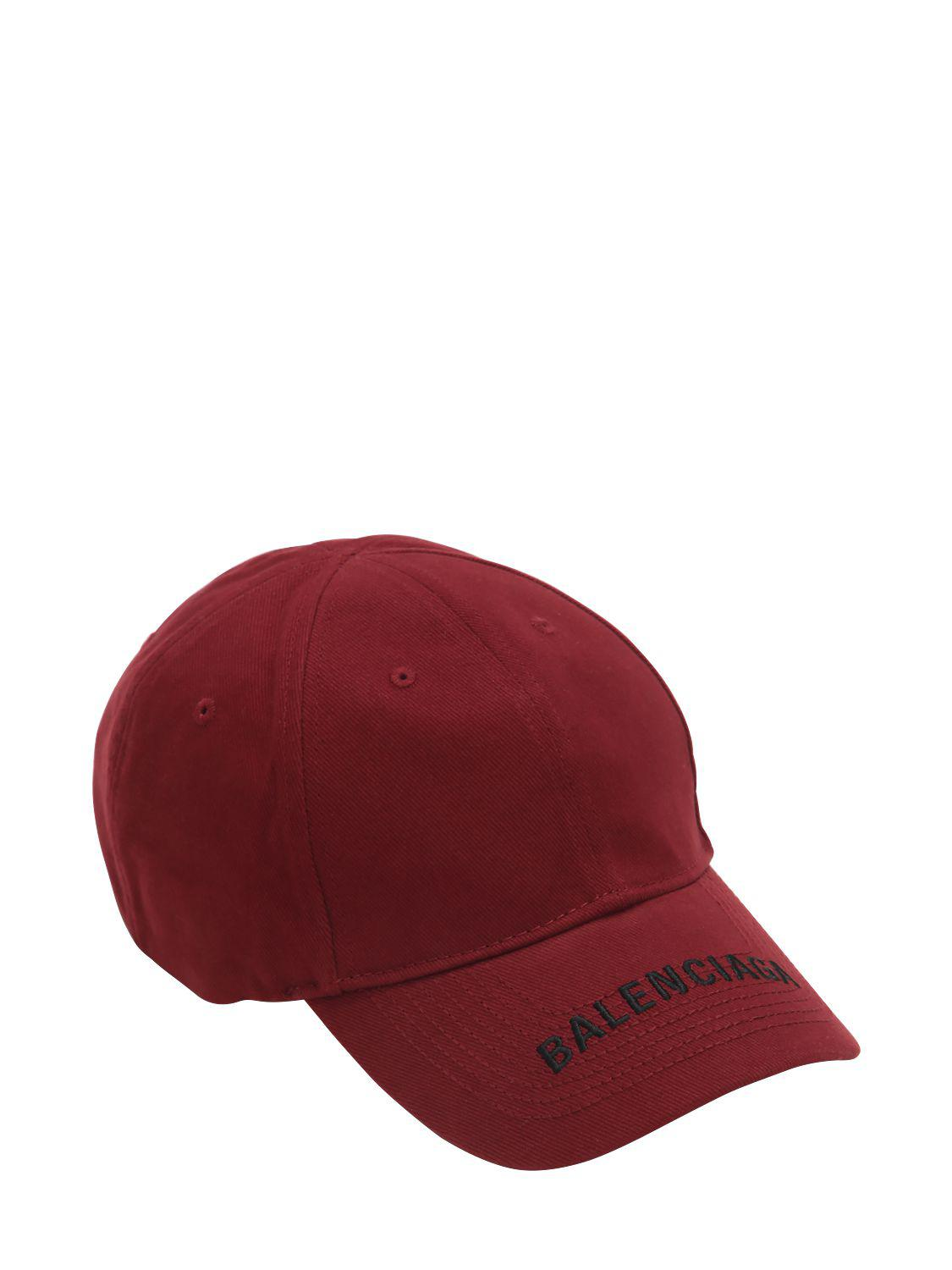 12551e7c6d6b7 Balenciaga Logo Embroidered Gabardine Hat in Red for Men - Lyst