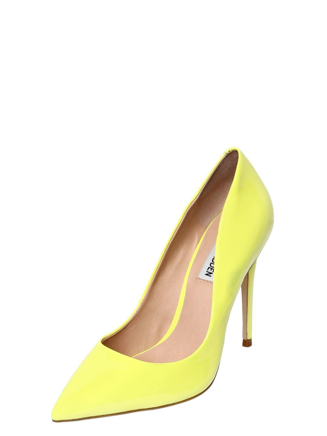 bae145bf6dec Lyst - Steve Madden 100mm Daisie Faux Patent Leather Pumps in Yellow - Save  30%