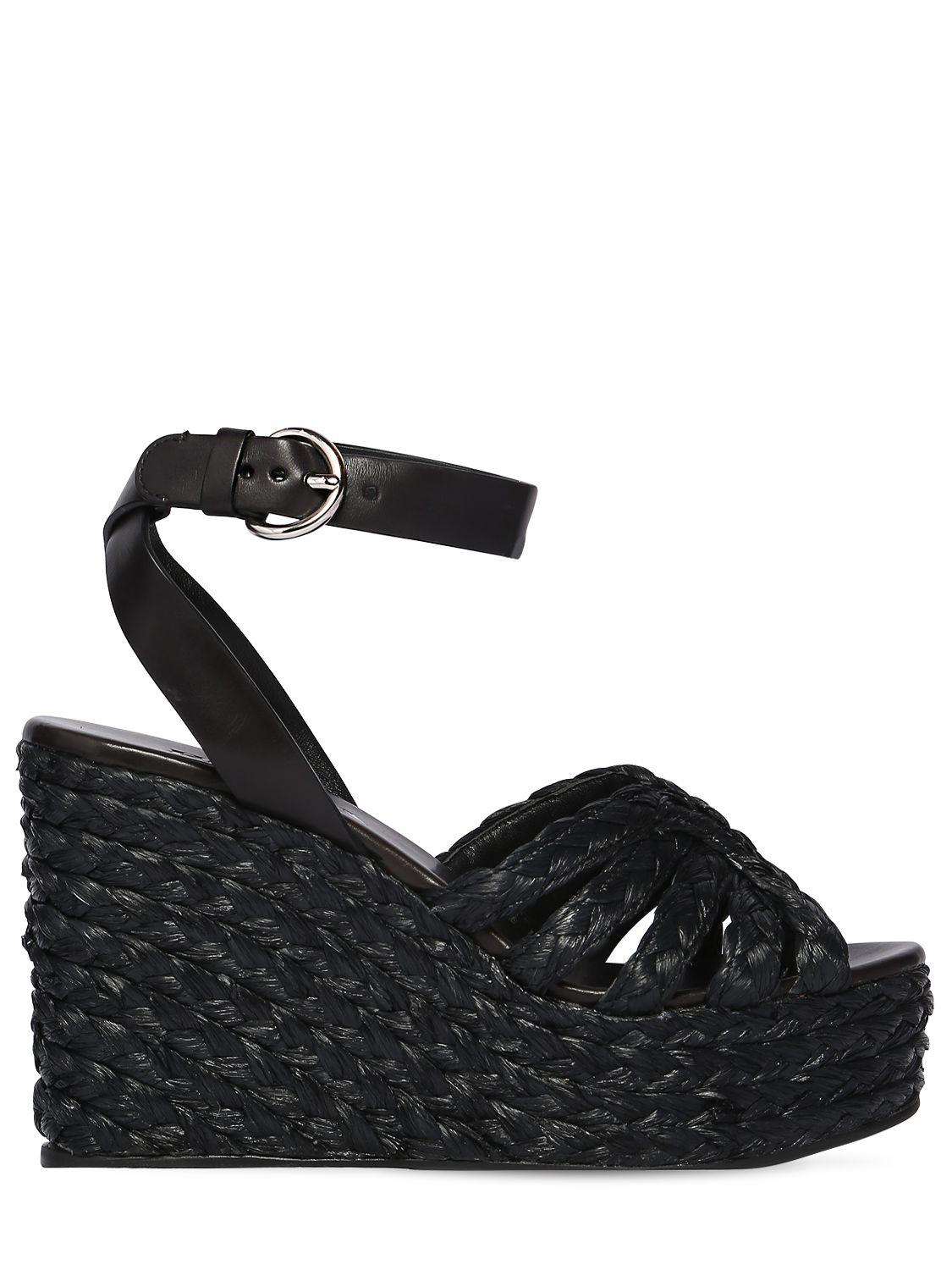 847a7207a1b4 Lyst - Prada 105mm Woven Satin   Leather Wedges in Black