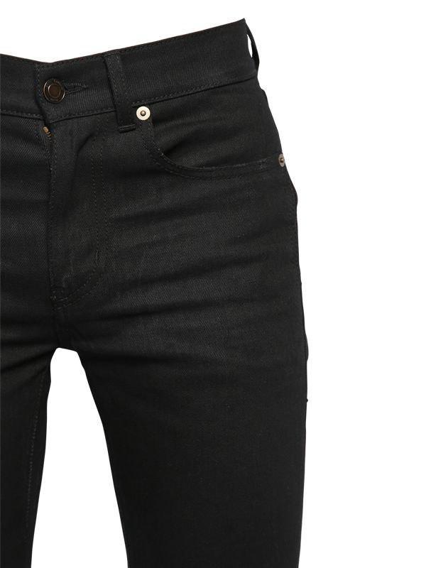 b542b68a0a130 Lyst - Saint Laurent 15cm Skinny Mid Rise Cotton Denim Jeans in Black for  Men