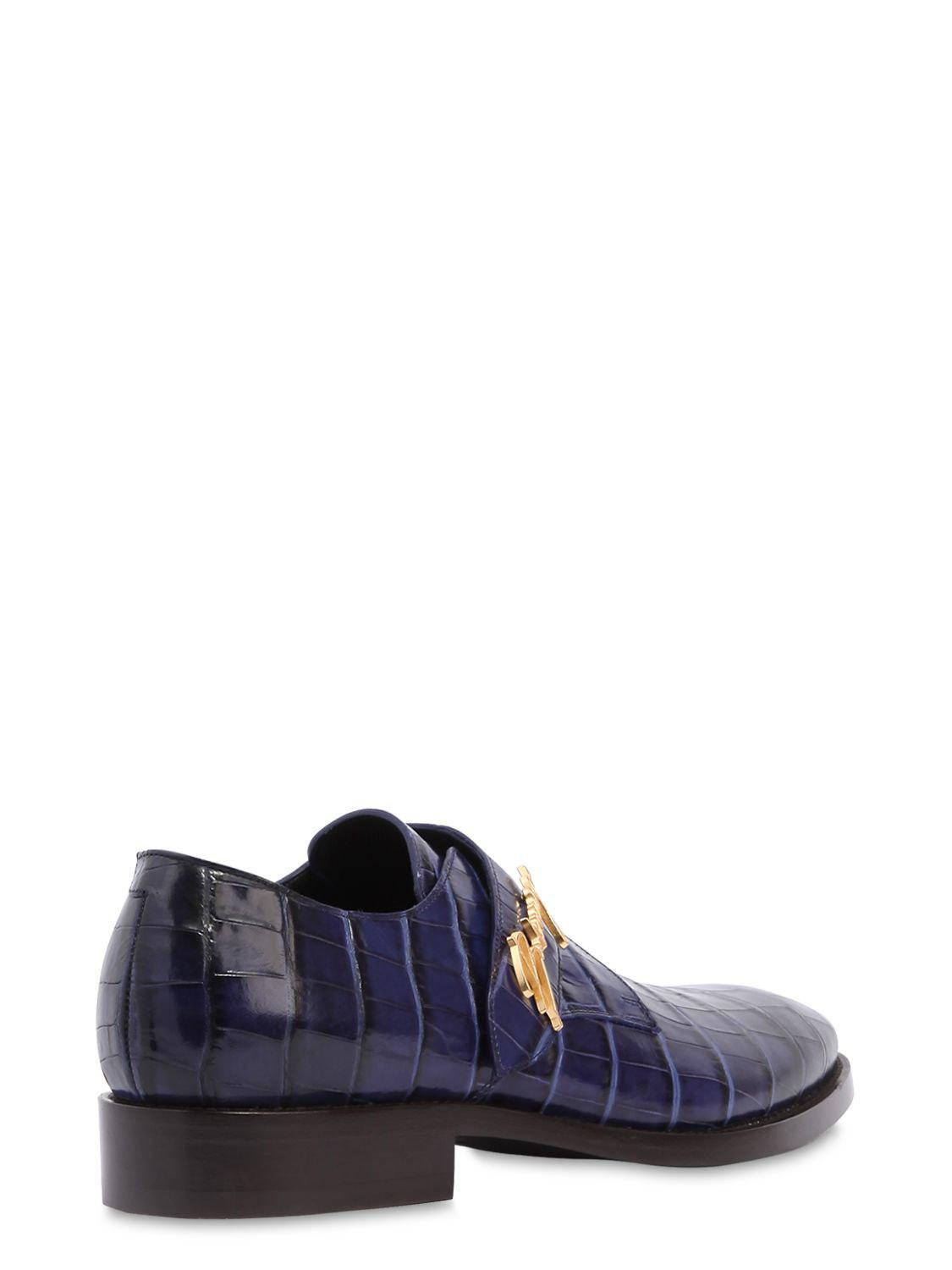 7b2bfa54e0d7 Lyst - Balenciaga Croc Embossed Leather Slip-on Shoes in Blue for Men