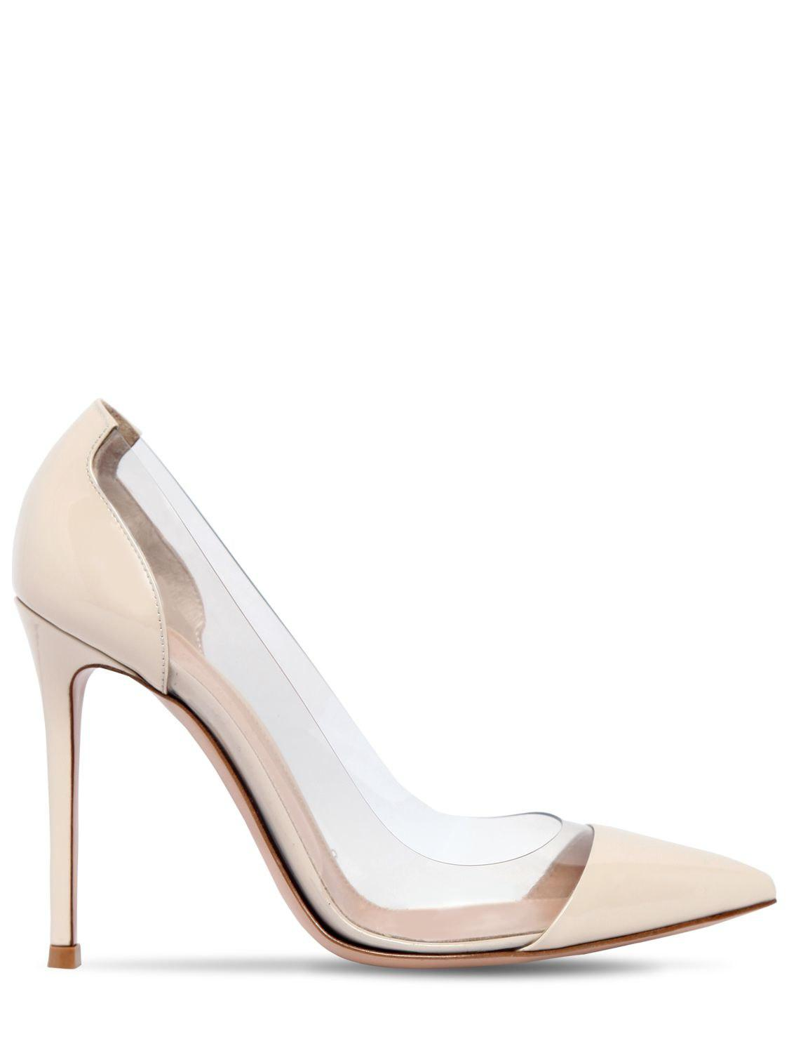 74169f401a44 Lyst - Gianvito Rossi 100mm Plexi   Patent Leather Pumps in Natural