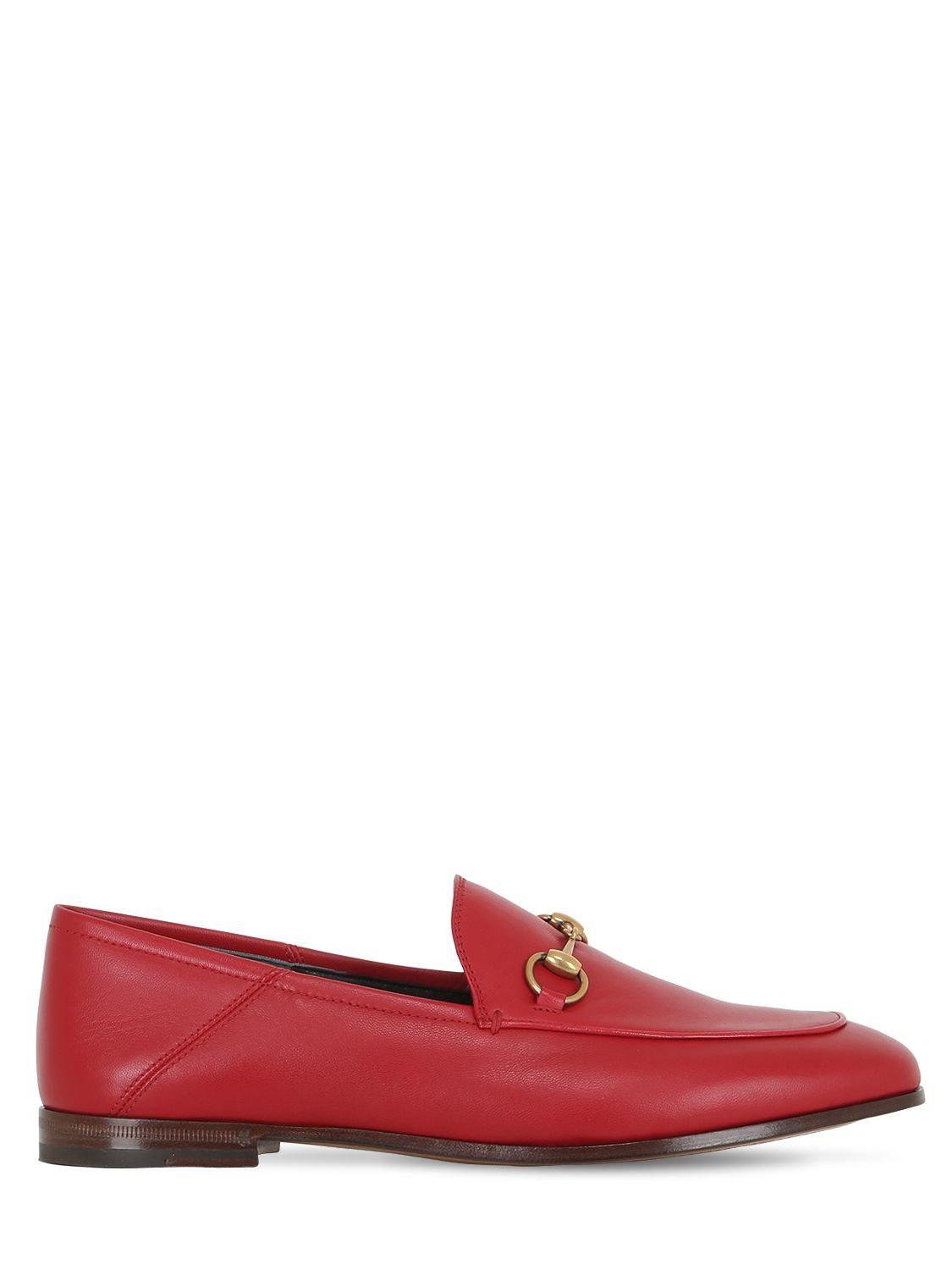 6d79410c2ee Lyst - Gucci 10mm Brixton Horse Bit Leather Loafers in Red - Save 14%
