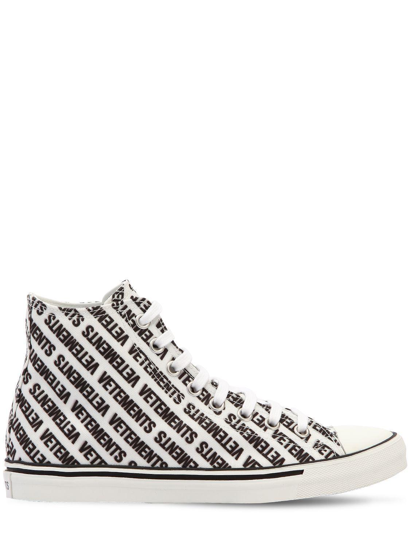 Vetements & Printed Logo High-Top Sneakers G9fxQ9opj