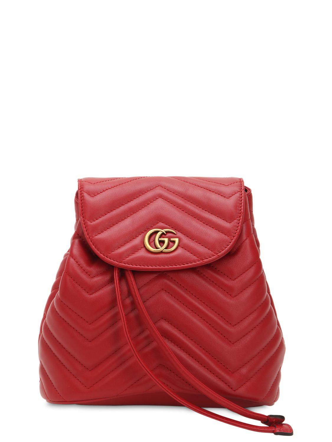 c8d634a99f2 Gucci Mini Gg Marmont Leather Backpack in Red - Save 12% - Lyst