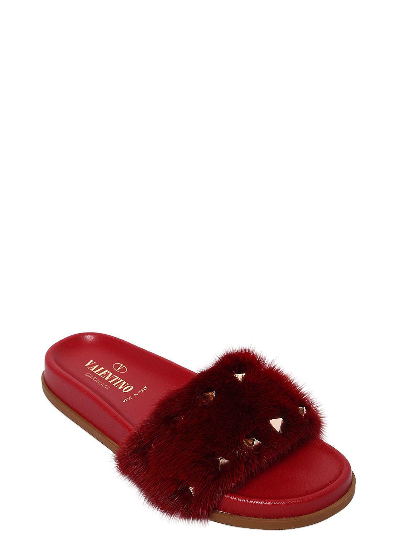 Sast Valentino LOCK MINK FUR & RUBBER SLIDE SANDALS Cheap Hot Sale udJrlAhcU