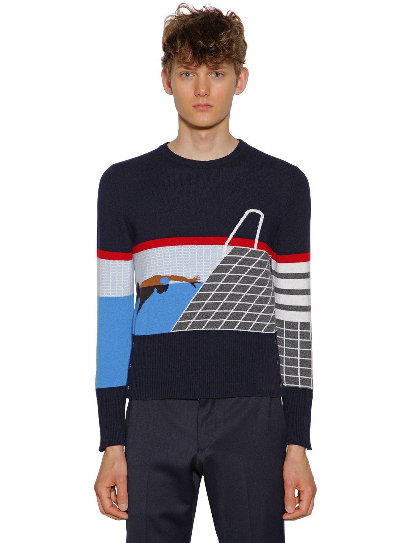 0a1f89a7c28a Lyst - Thom Browne Intarsia Stripes Cashmere Sweater in Blue for Men