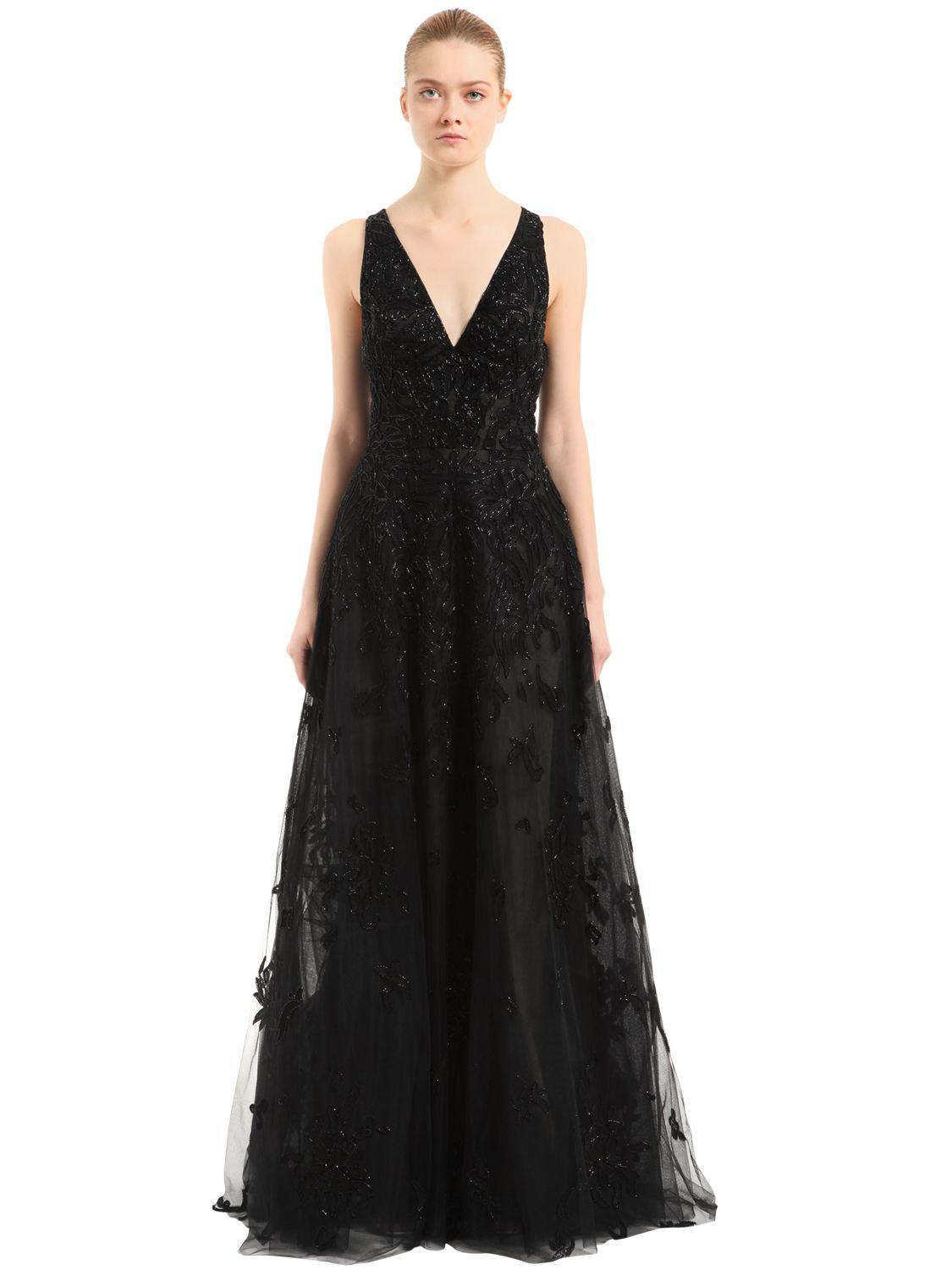 Lyst - Zuhair Murad Beaded Tulle Floral Gown W/ Cape in Black - Save ...
