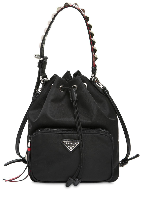 183397d3a53e Prada - Black New Vela Nylon Bucket Bag W  Studs - Lyst. View fullscreen