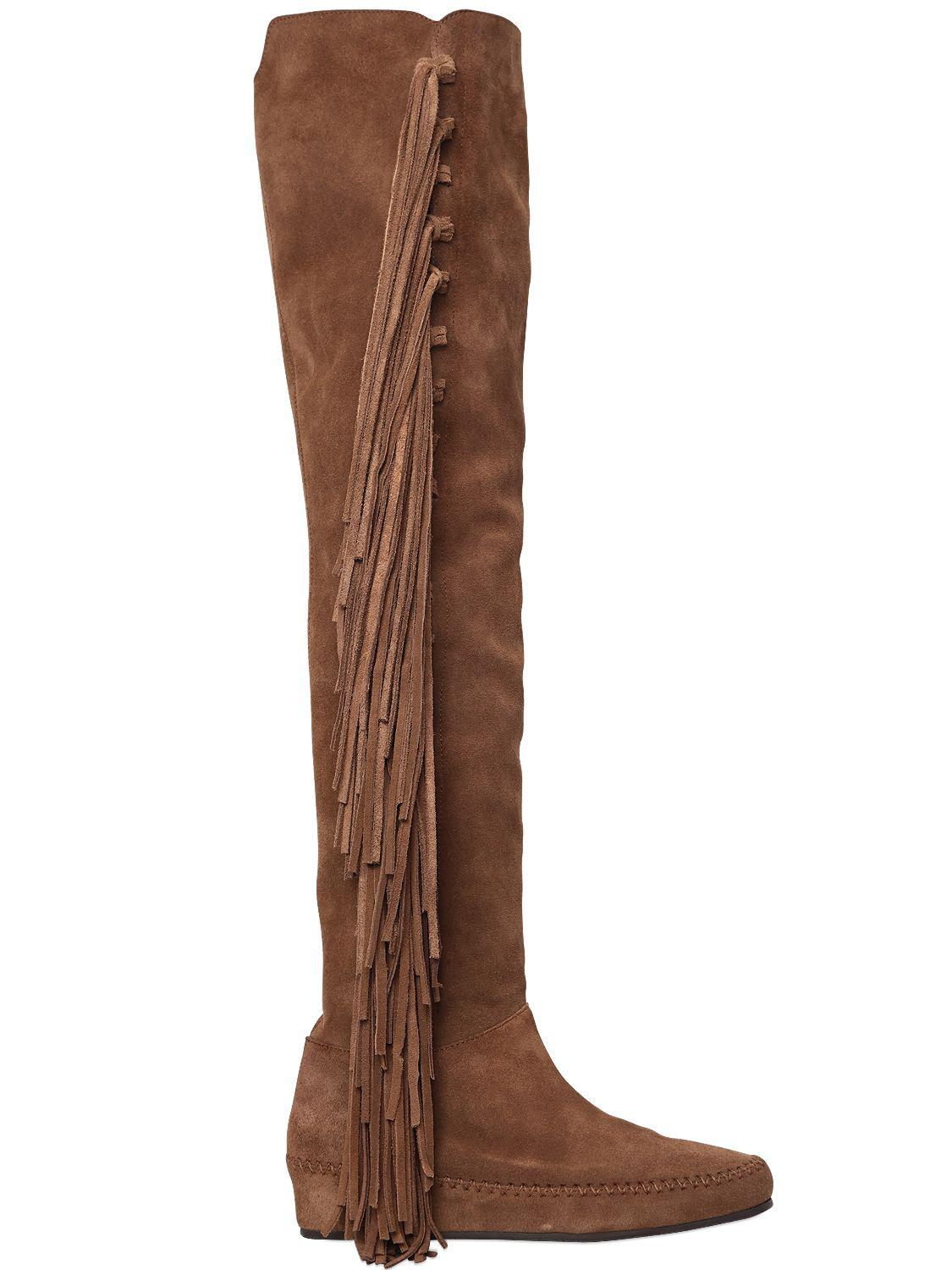 Etro 30MM FRINGED SUEDE OVER THE KNEE BOOTS cFqOKwMaLK
