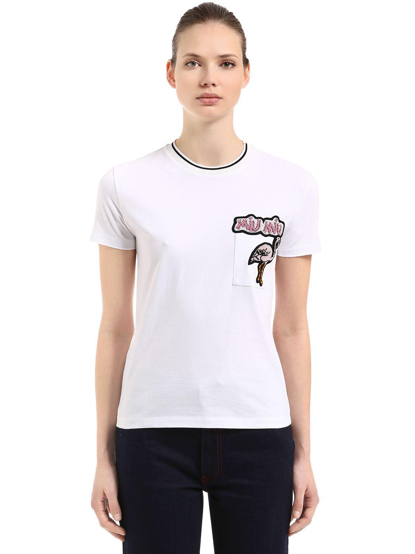 Lyst miu miu flamingo patch cotton jersey t shirt in white for Miu miu t shirt