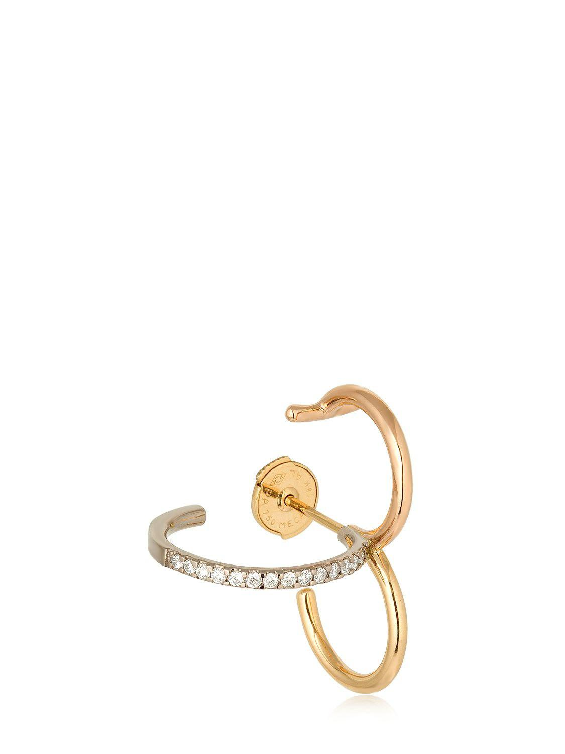 Charlotte Chesnais Clover Mono Earring in Yellow, Rose and White 18K Gold and Diamonds