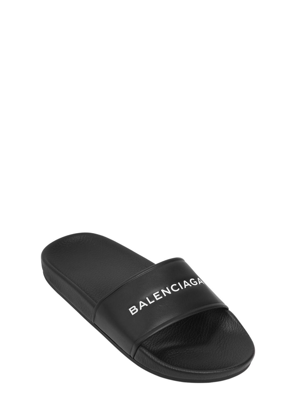 352c8ba51 Balenciaga Logo Printed Rubber Slide Sandals in Black for Men - Save 32% -  Lyst