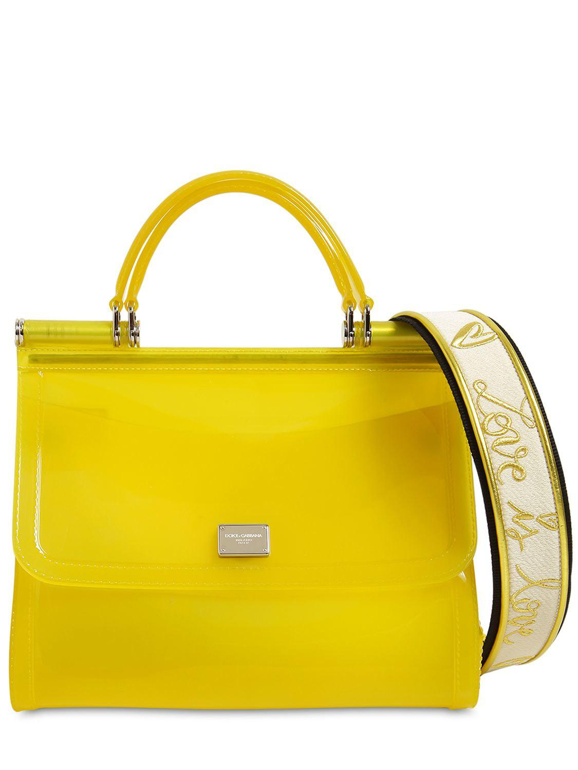 9ce010d649 Lyst - Dolce   Gabbana Sicily Faux Patent Leather Bag in Yellow