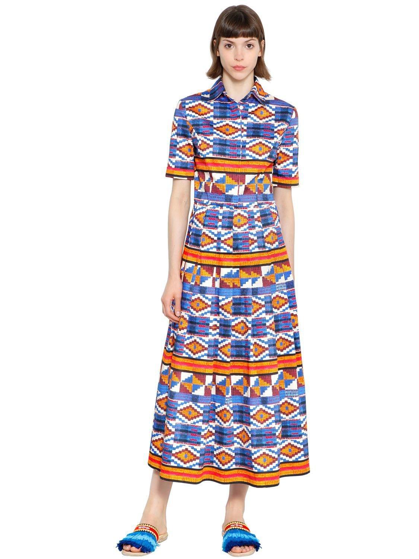 9227e158 Stella Jean Geometric Print Plisse Cotton Dress in Blue - Save 59 ...