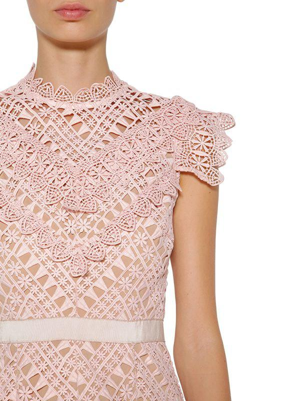 4cfe1ee7020a Self-Portrait Short Lace Detail Dress in Pink - Save 46% - Lyst